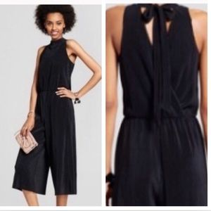Xhilaration Black Halter Tie Back Culotte Jumpsuit